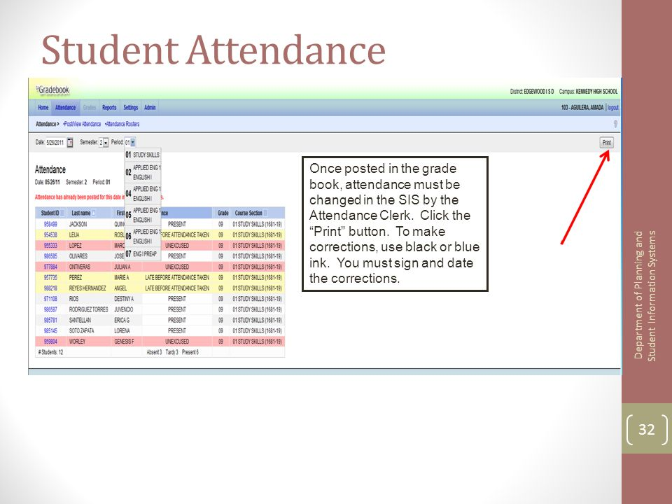 "Student Attendance Once posted in the grade book, attendance must be changed in the SIS by the Attendance Clerk. Click the ""Print"" button. To make cor"