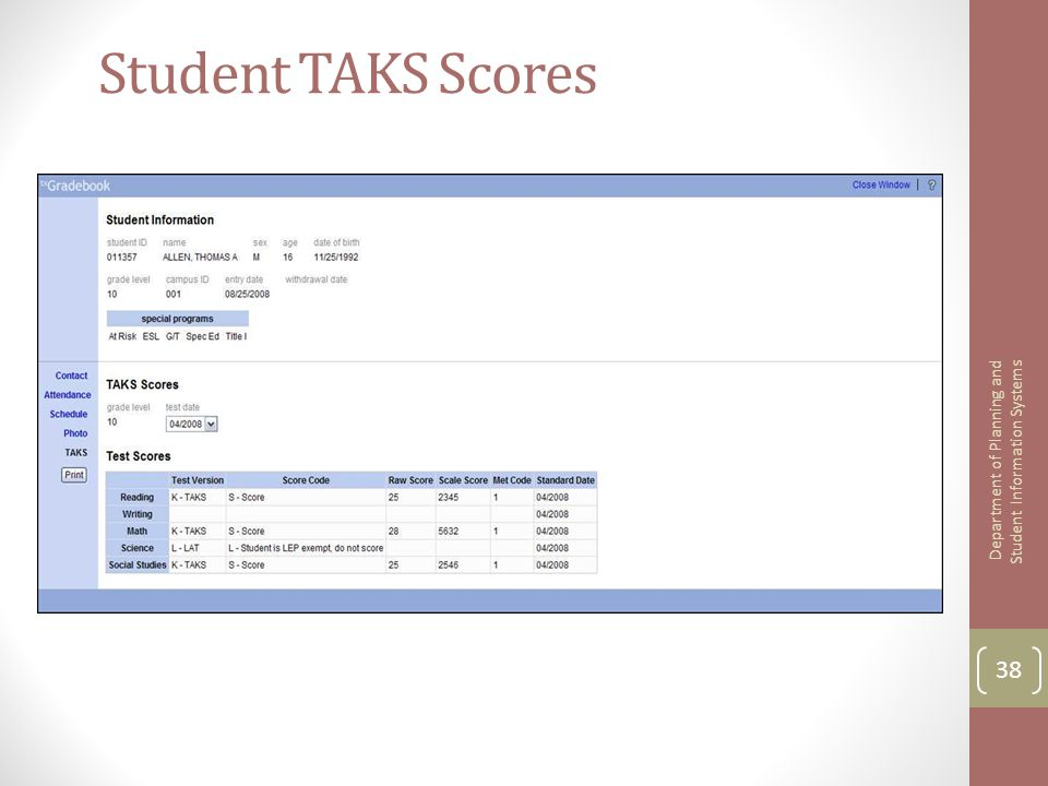 Student TAKS Scores 38 Department of Planning and Student Information Systems