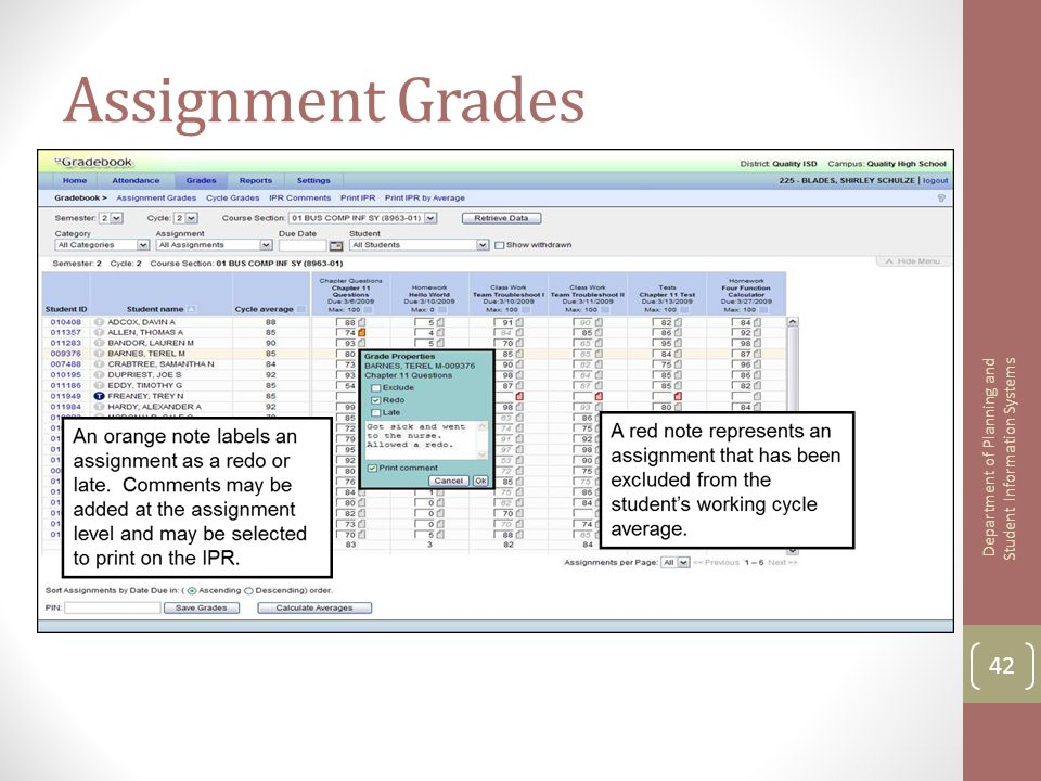 Assignment Grades 42 Department of Planning and Student Information Systems