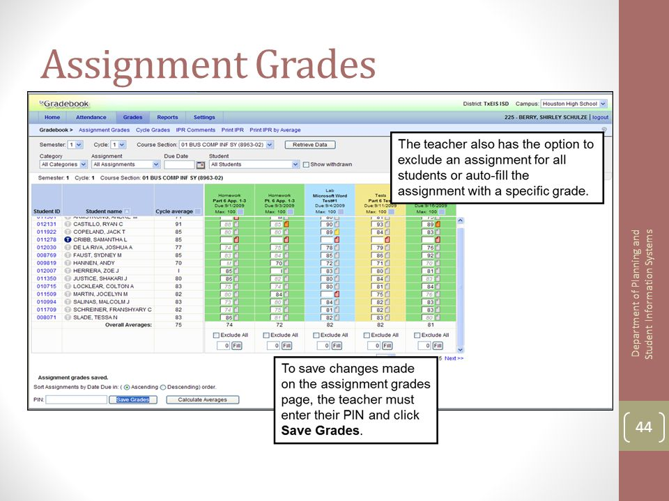 Assignment Grades 44 Department of Planning and Student Information Systems