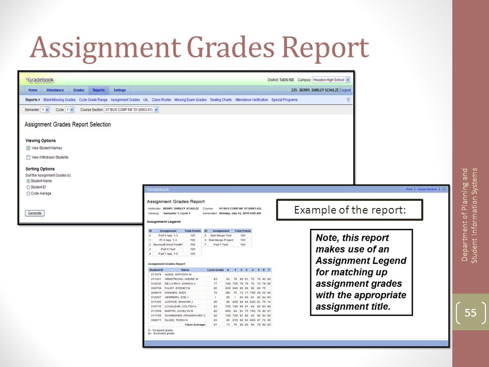 Assignment Grades Report 55 Department of Planning and Student Information Systems Example of the report: