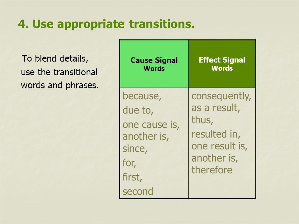 4.Use appropriate transitions. To blend details, use the transitional words and phrases.