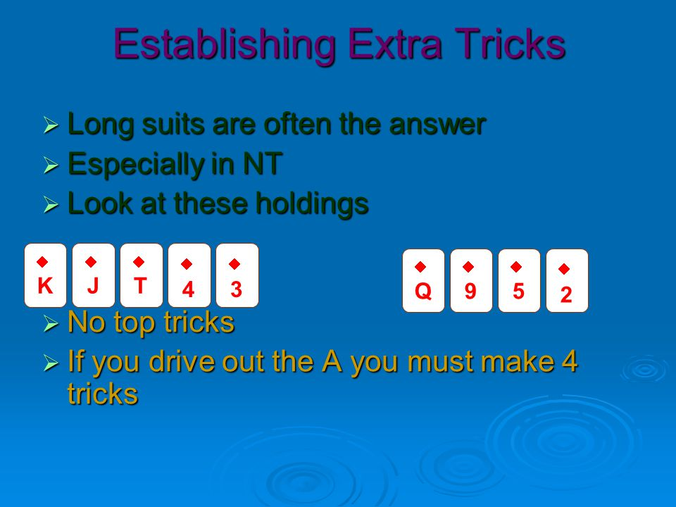 Establishing Extra Tricks  That hand had all the top cards except A  How about this holding.