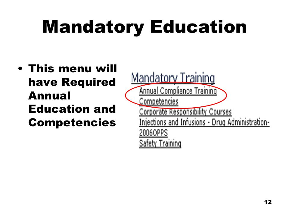12 Mandatory Education This menu will have Required Annual Education and Competencies