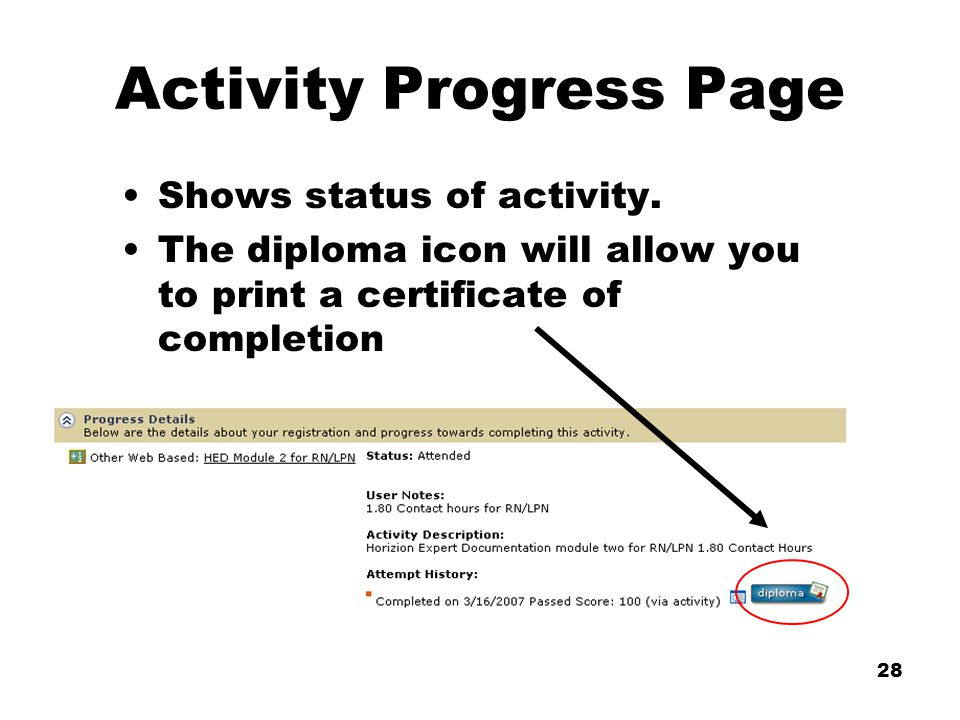 28 Activity Progress Page Shows status of activity.