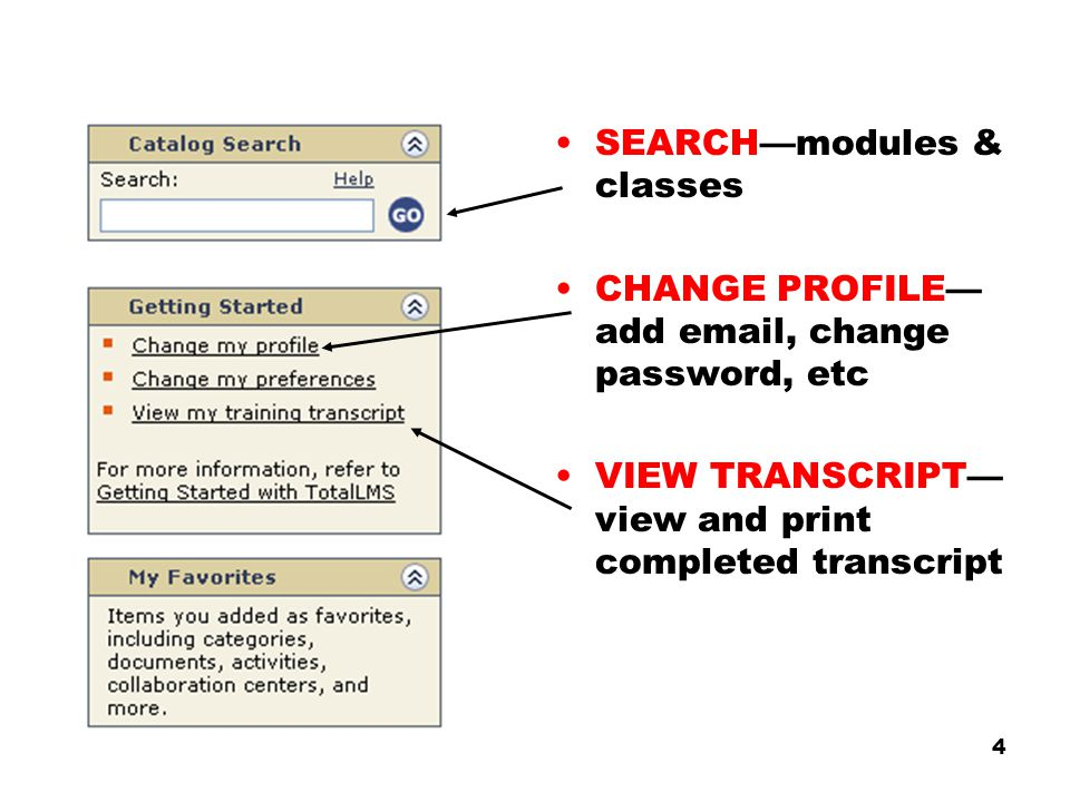 4 SEARCH—modules & classes CHANGE PROFILE— add email, change password, etc VIEW TRANSCRIPT— view and print completed transcript