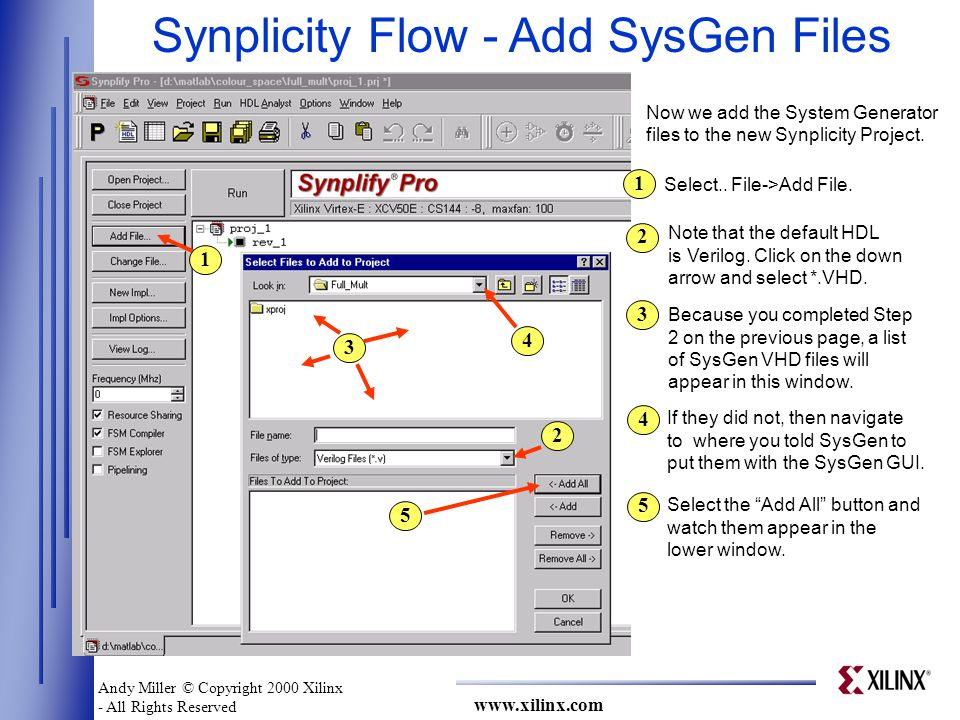 www.xilinx.com Synplicity Flow - Add SysGen Files 1 2 3 4 5 Now we add the System Generator files to the new Synplicity Project.