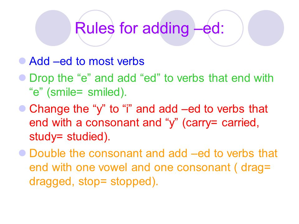 "Rules for adding –ed: Add –ed to most verbs Drop the ""e"" and add ""ed"" to verbs that end with ""e"" (smile= smiled). Change the ""y"" to ""i"" and add –ed to"
