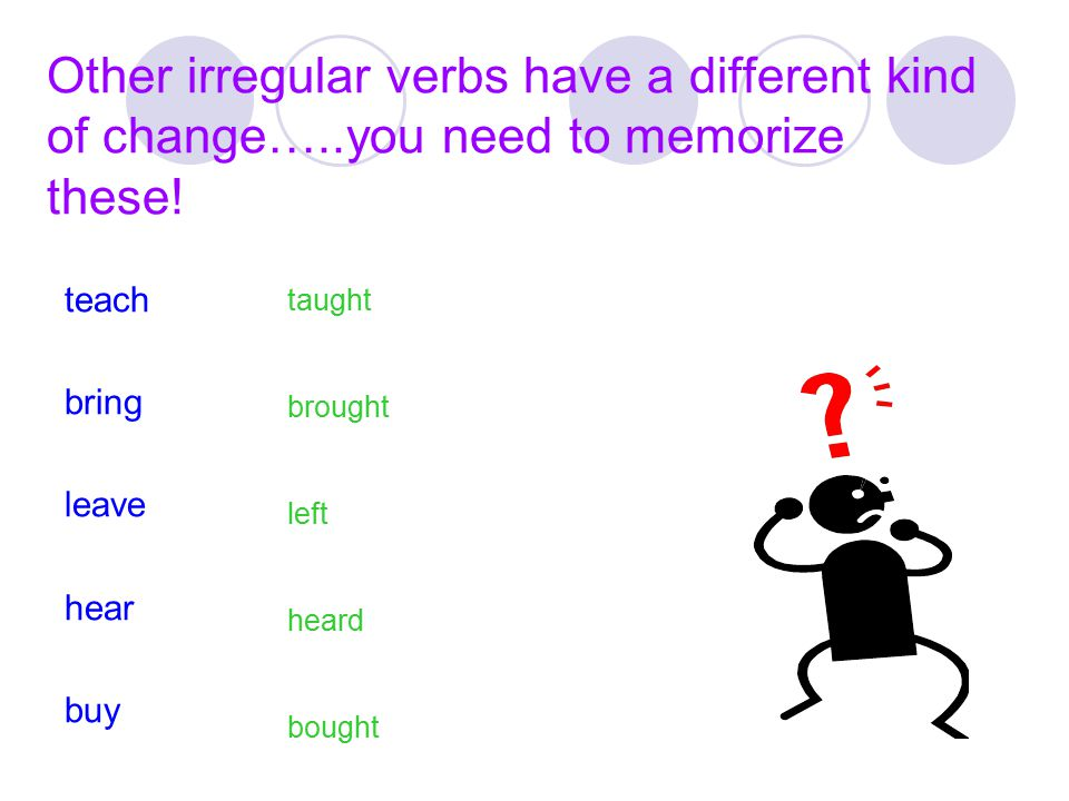 Other irregular verbs have a different kind of change…..you need to memorize these! teach bring leave hear buy taught brought left heard bought