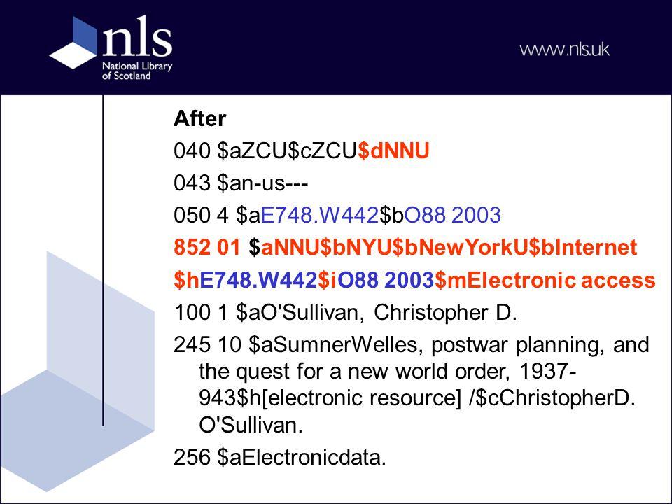 After 040 $aZCU$cZCU$dNNU 043 $an-us--- 050 4 $aE748.W442$bO88 2003 852 01 $aNNU$bNYU$bNewYorkU$bInternet $hE748.W442$iO88 2003$mElectronic access 100 1 $aO Sullivan, Christopher D.