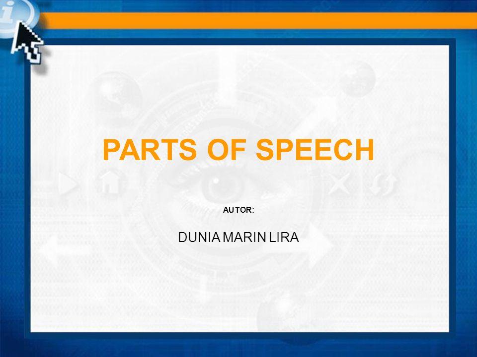 PARTS OF SPEECH AUTOR: DUNIA MARIN LIRA