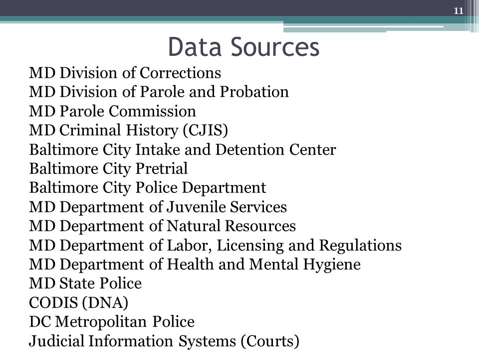 Data Sources MD Division of Corrections MD Division of Parole and Probation MD Parole Commission MD Criminal History (CJIS) Baltimore City Intake and