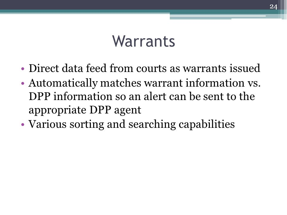 Warrants Direct data feed from courts as warrants issued Automatically matches warrant information vs.