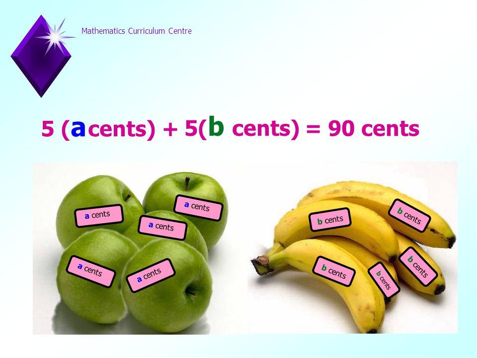 Mathematics Curriculum Centre a cents b cents 5 ( a cents) + 5( b cents) = 90 cents
