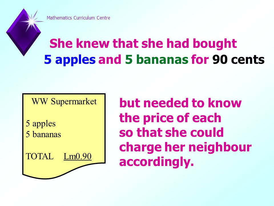 Mathematics Curriculum Centre She knew that she had bought 5 apples and 5 bananas for 90 cents but needed to know the price of each so that she could charge her neighbour accordingly.
