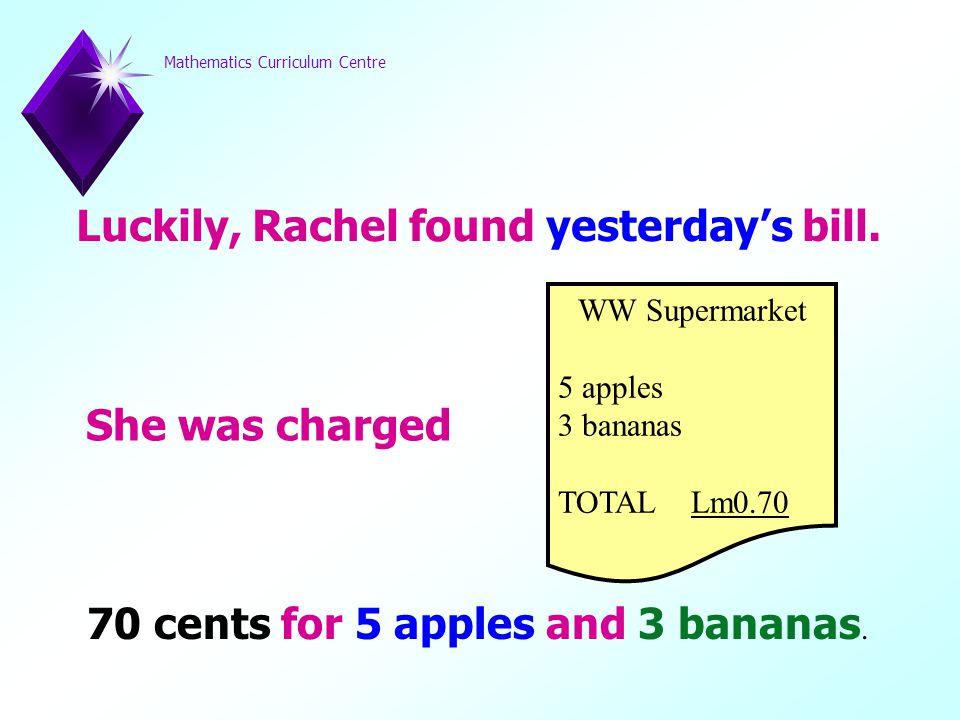Mathematics Curriculum Centre b cents is 10 cents, then… 5 a + 5 b = 90 As… is… 5 a + 5 (10) = 90 5 a + 50 = 90 5 a = 40 a = 8 a cents is 8 cents