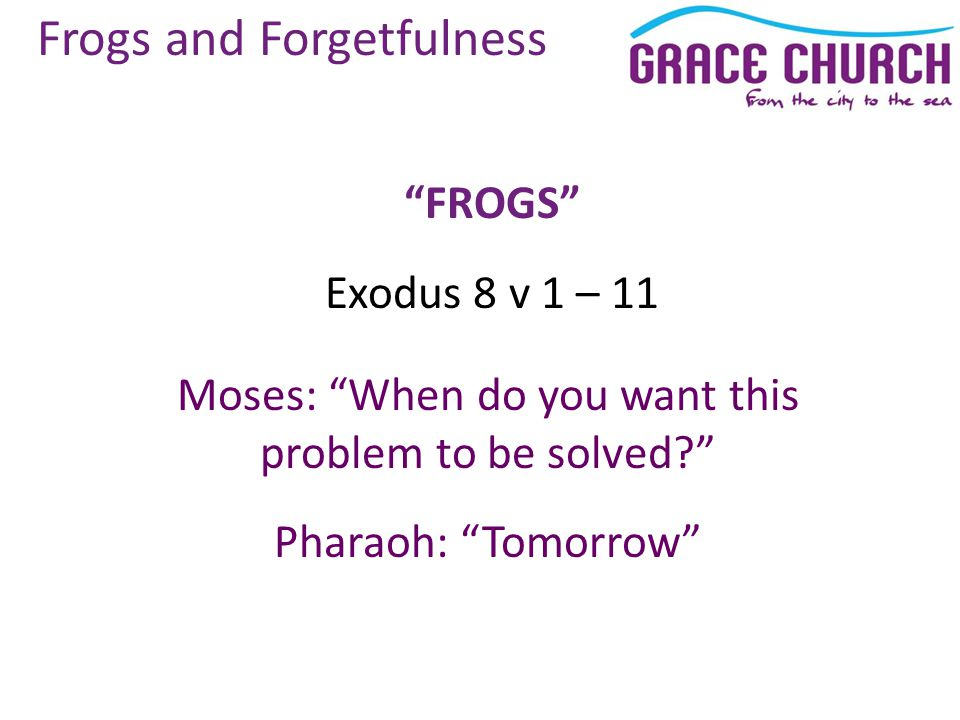 Frogs and Forgetfulness FROGS Exodus 8 v 1 – 11 Moses: When do you want this problem to be solved Pharaoh: Tomorrow