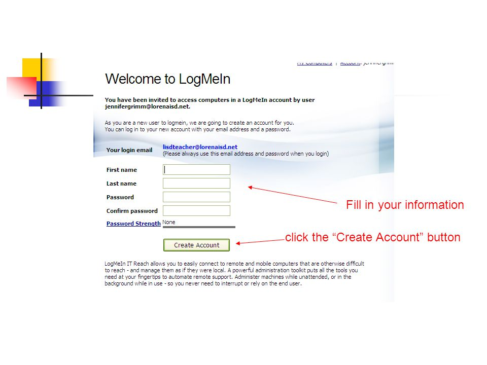 Fill in your information click the Create Account button