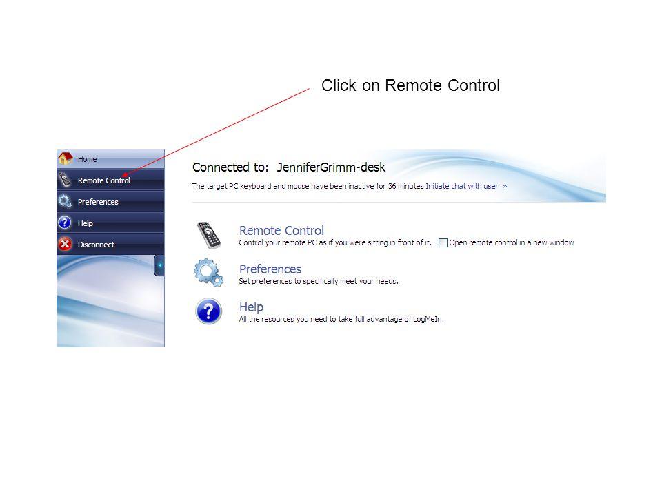 Click on Remote Control