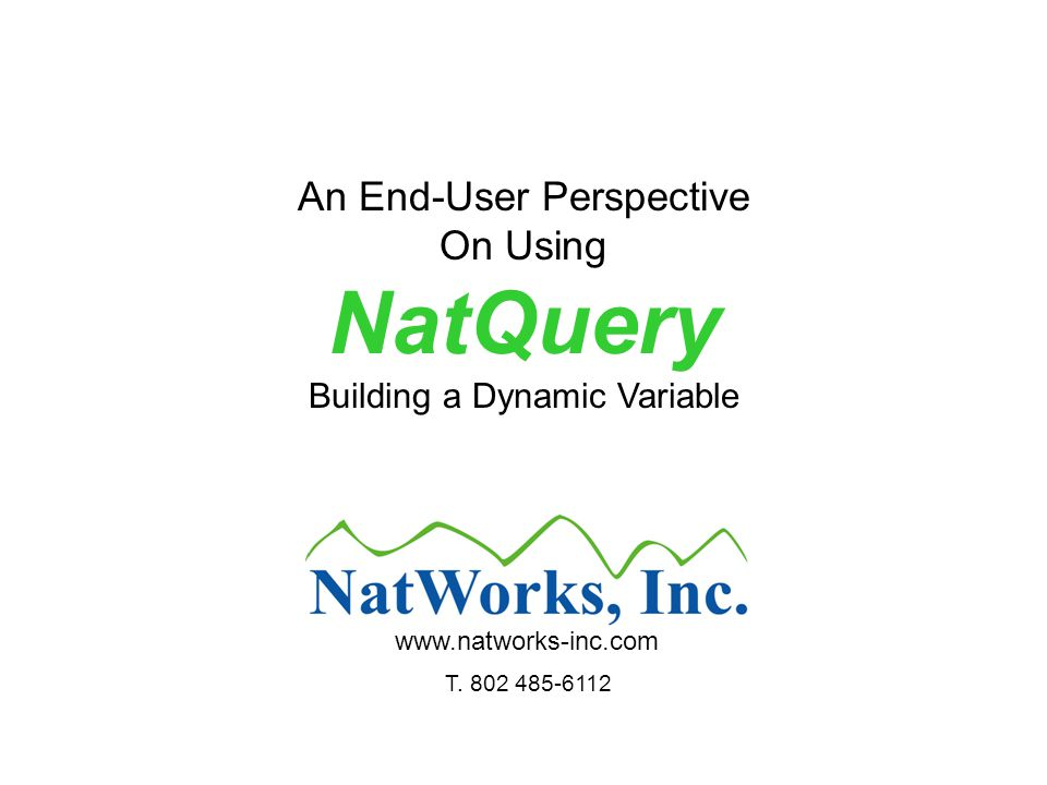 An End-User Perspective On Using NatQuery Building a Dynamic Variable www.natworks-inc.com T.