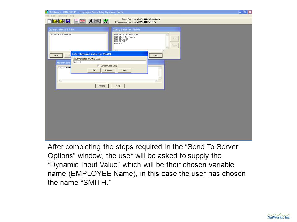 After completing the steps required in the Send To Server Options window, the user will be asked to supply the Dynamic Input Value which will be their chosen variable name (EMPLOYEE Name), in this case the user has chosen the name SMITH.