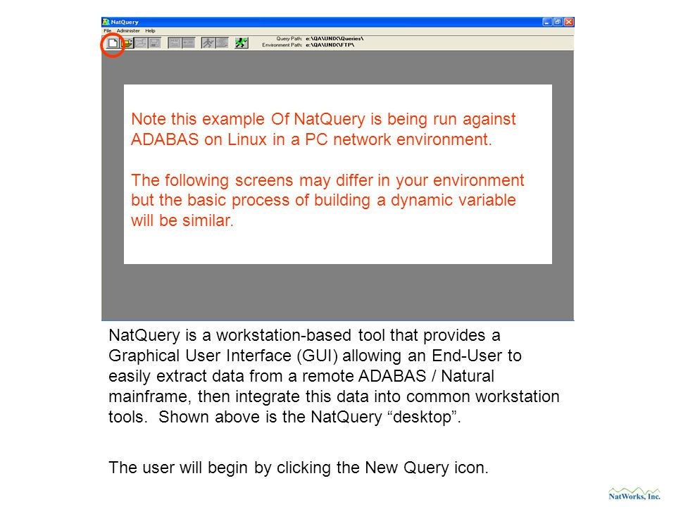 NatQuery is a workstation-based tool that provides a Graphical User Interface (GUI) allowing an End-User to easily extract data from a remote ADABAS / Natural mainframe, then integrate this data into common workstation tools.