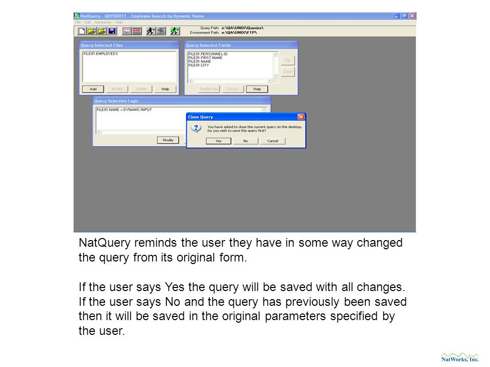 NatQuery reminds the user they have in some way changed the query from its original form.