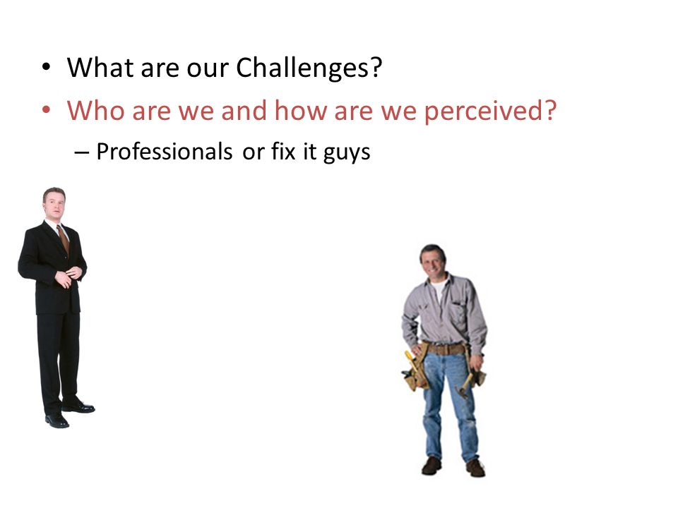 What are our Challenges? Who are we and how are we perceived? – Professionals or fix it guys