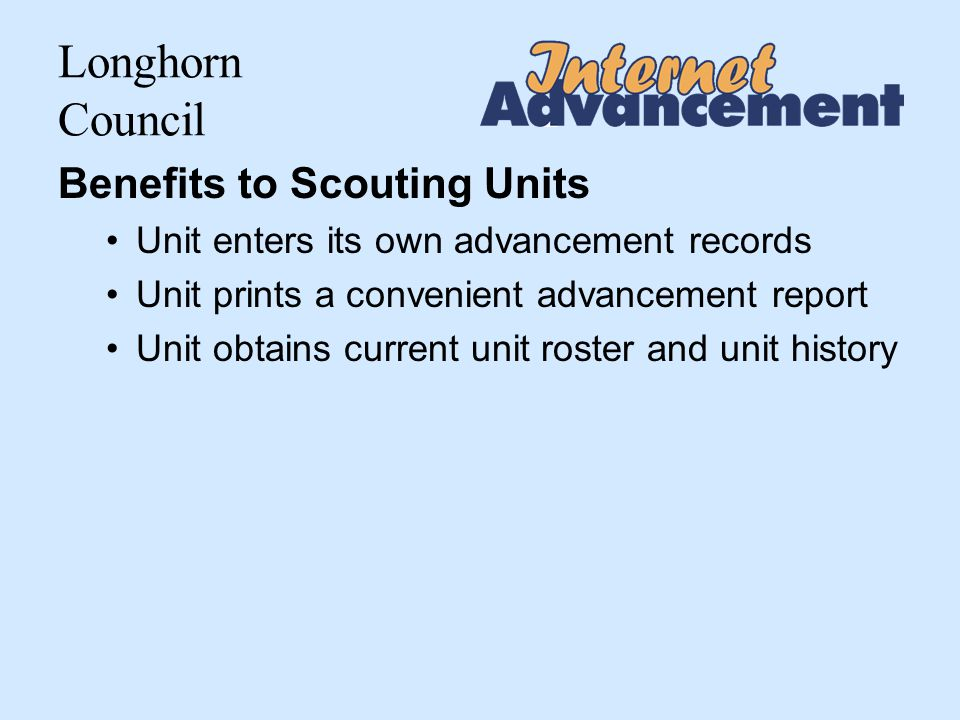 Longhorn Council Youth Members with no Rank recorded Listing at end of Unit Advancement Summary