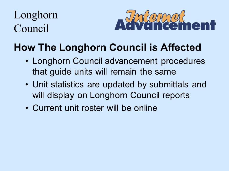 Longhorn Council Advancement Report Package for signature and turn in to council