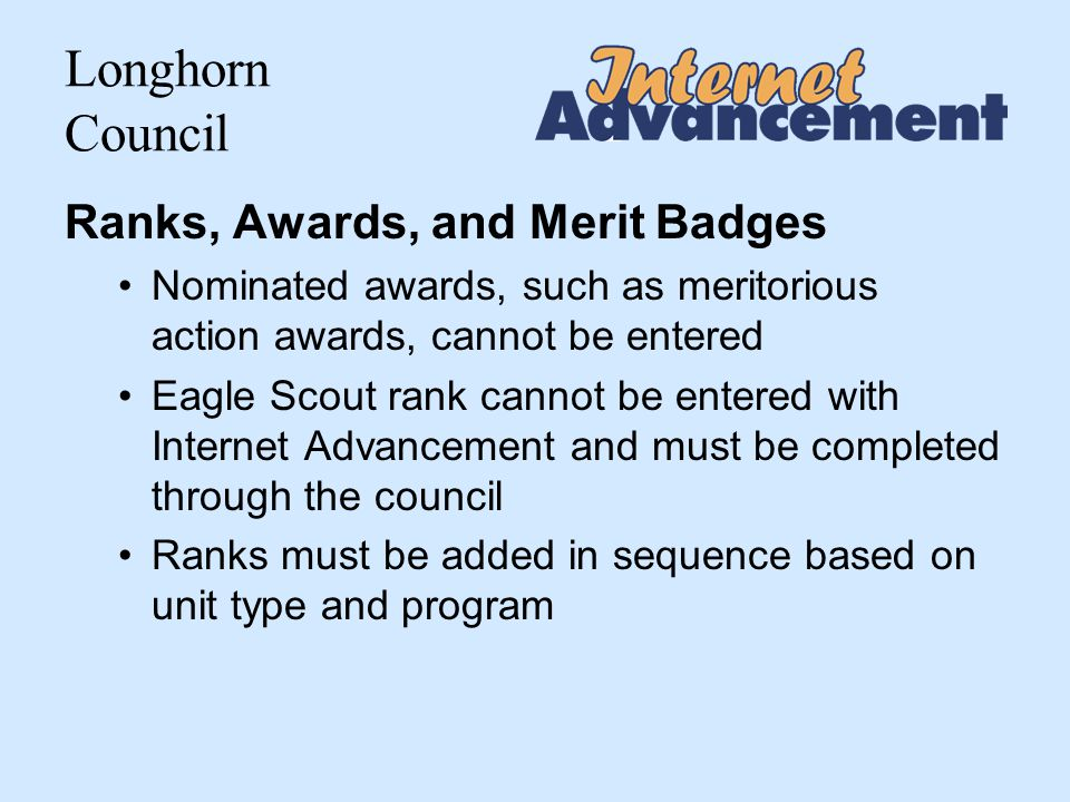Longhorn Council Other Reports Available Unit Roster The Unit Roster is the current roster of adult leaders and youth members.