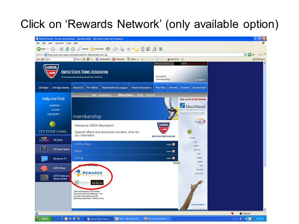 Click on 'Rewards Network' (only available option)