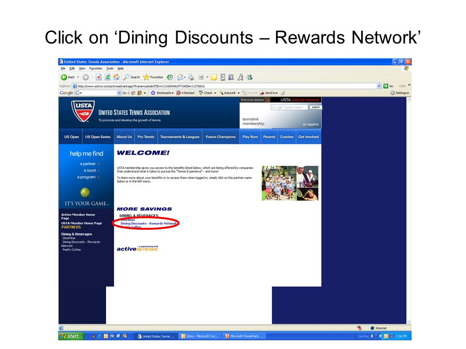 Click on 'Dining Discounts – Rewards Network'