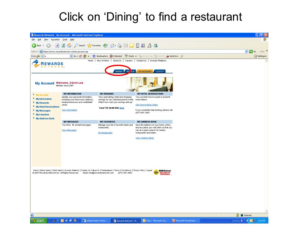 Click on 'Dining' to find a restaurant