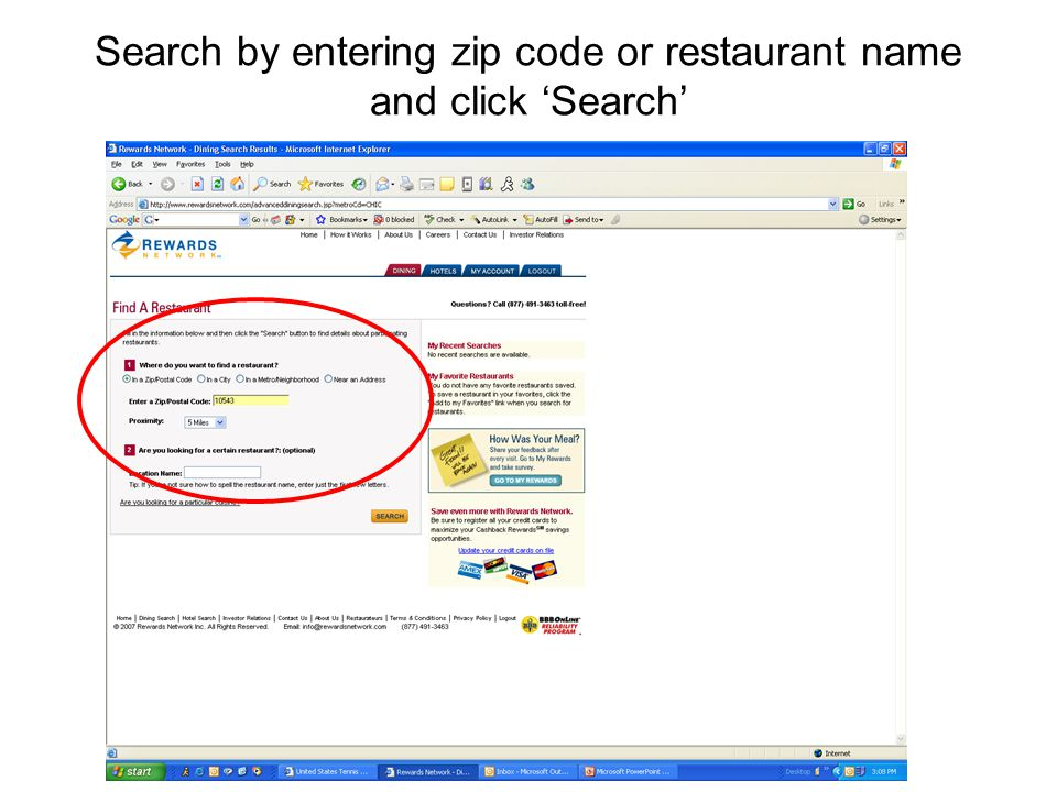 Search by entering zip code or restaurant name and click 'Search'