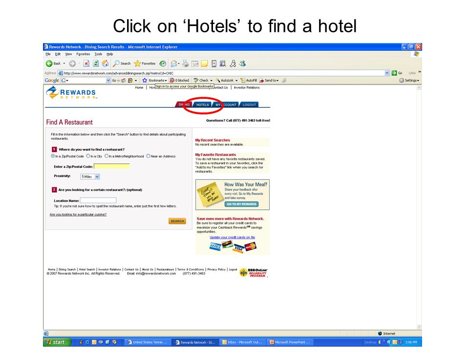 Click on 'Hotels' to find a hotel