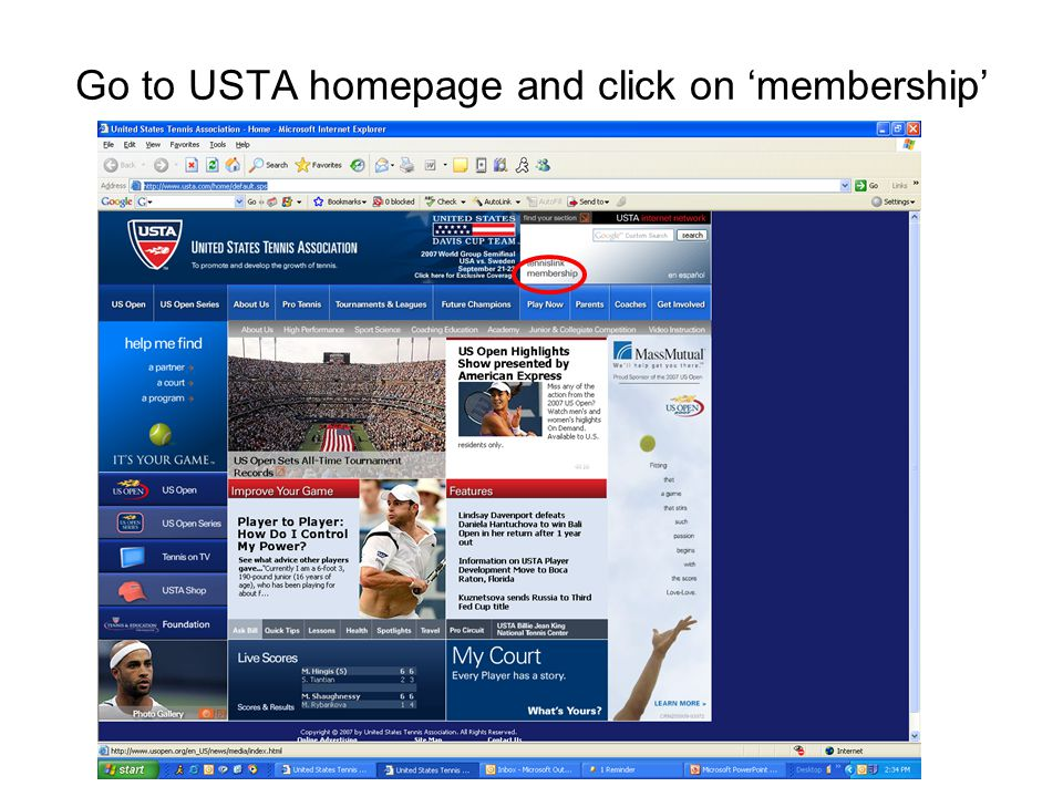 Go to USTA homepage and click on 'membership'