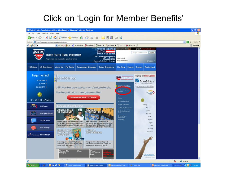 Click on 'Login for Member Benefits'