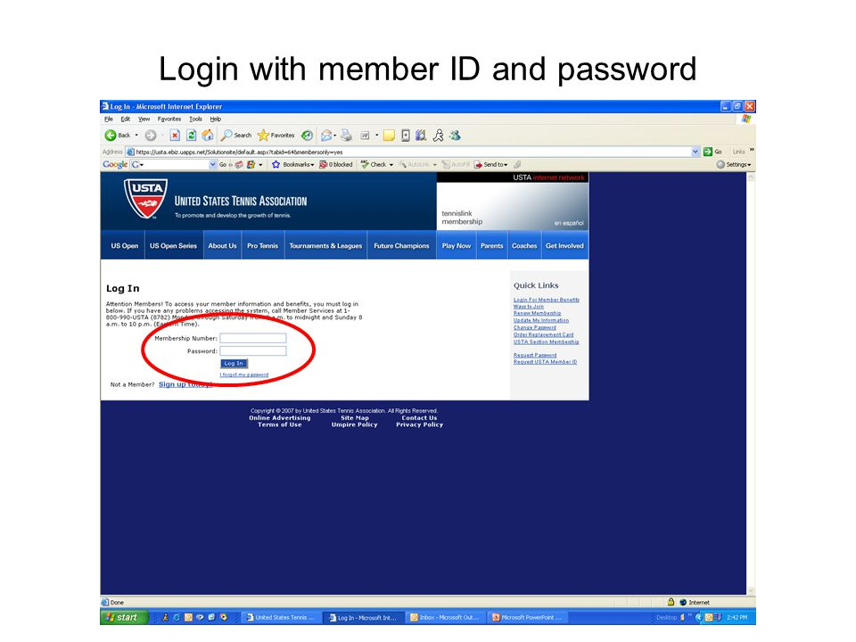 Login with member ID and password
