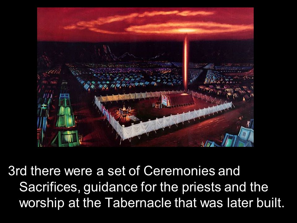 3rd there were a set of Ceremonies and Sacrifices, guidance for the priests and the worship at the Tabernacle that was later built.