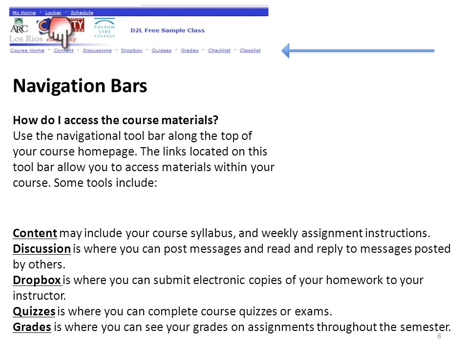 Navigation Bars How do I access the course materials.