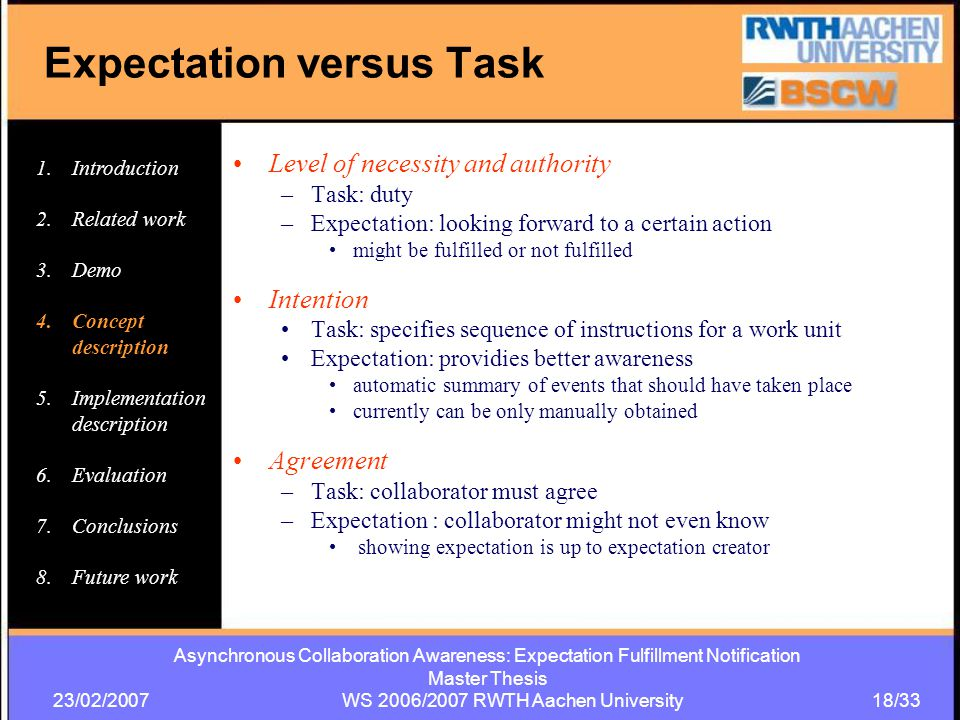 Asynchronous Collaboration Awareness: Expectation Fulfillment Notification Master Thesis 23/02/2007 WS 2006/2007 RWTH Aachen University 18/33 Level of necessity and authority –Task: duty –Expectation: looking forward to a certain action might be fulfilled or not fulfilled Intention Task: specifies sequence of instructions for a work unit Expectation: providies better awareness automatic summary of events that should have taken place currently can be only manually obtained Agreement –Task: collaborator must agree –Expectation : collaborator might not even know showing expectation is up to expectation creator Expectation versus Task 1.Introduction 2.Related work 3.Demo 4.Concept description 5.Implementation description 6.Evaluation 7.Conclusions 8.Future work