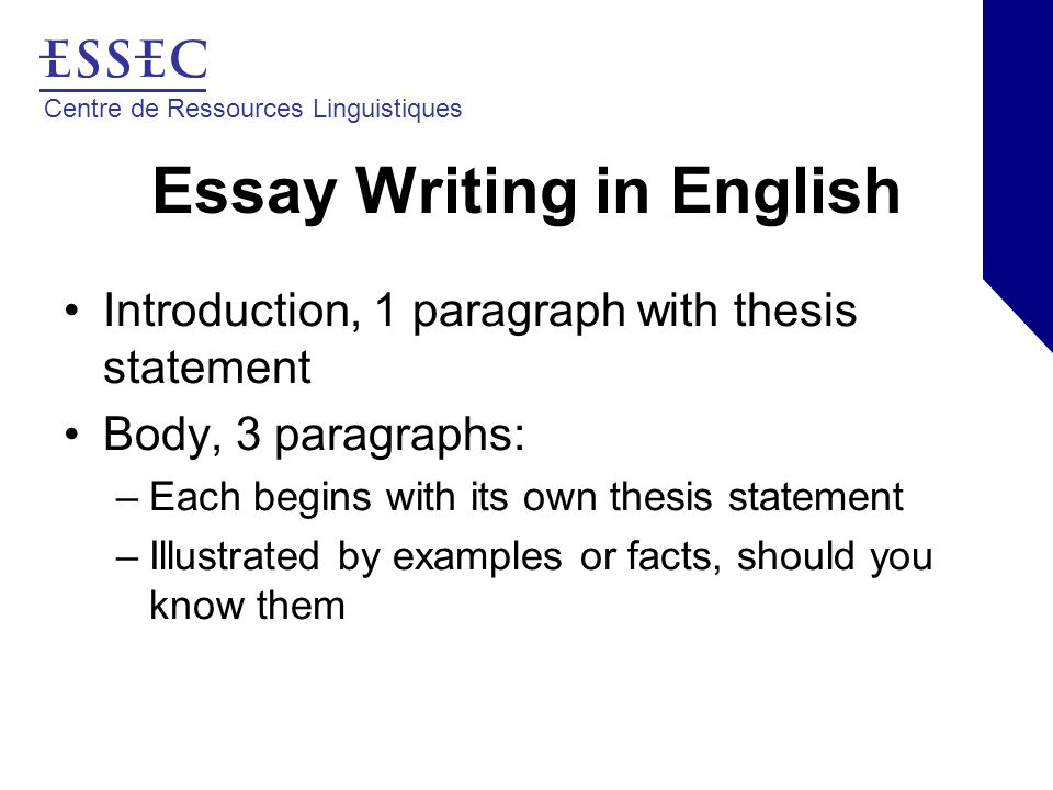 Centre de Ressources Linguistiques Essay Writing in English Introduction, 1 paragraph with thesis statement Body, 3 paragraphs: –Each begins with its own thesis statement –Illustrated by examples or facts, should you know them