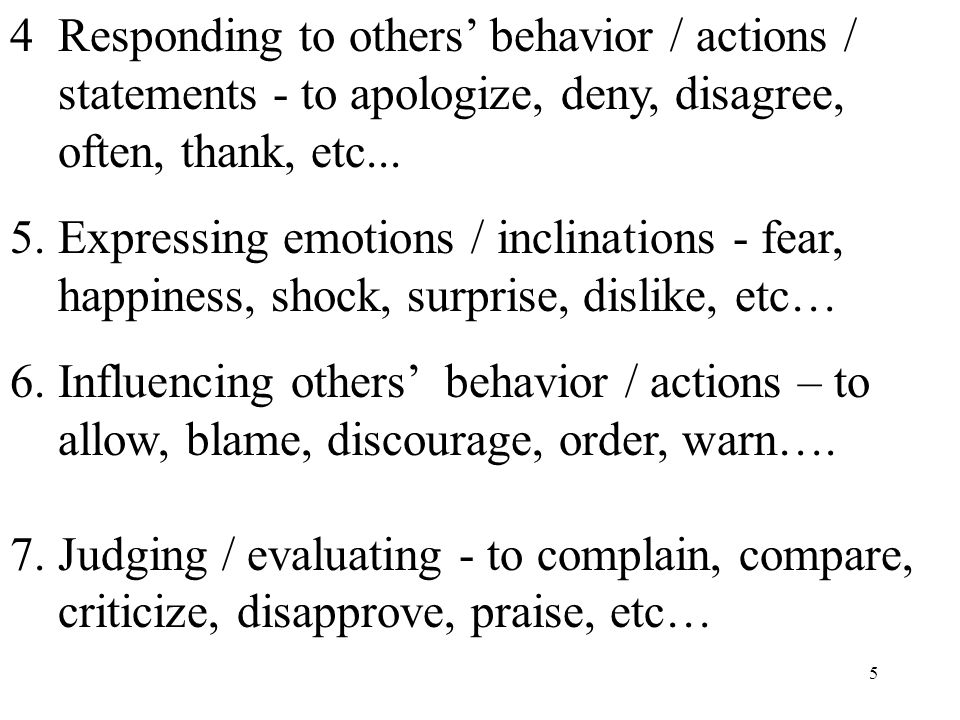 5 4. Responding to others' behavior / actions / statements - to apologize, deny, disagree, often, thank, etc... 5. Expressing emotions / inclinations