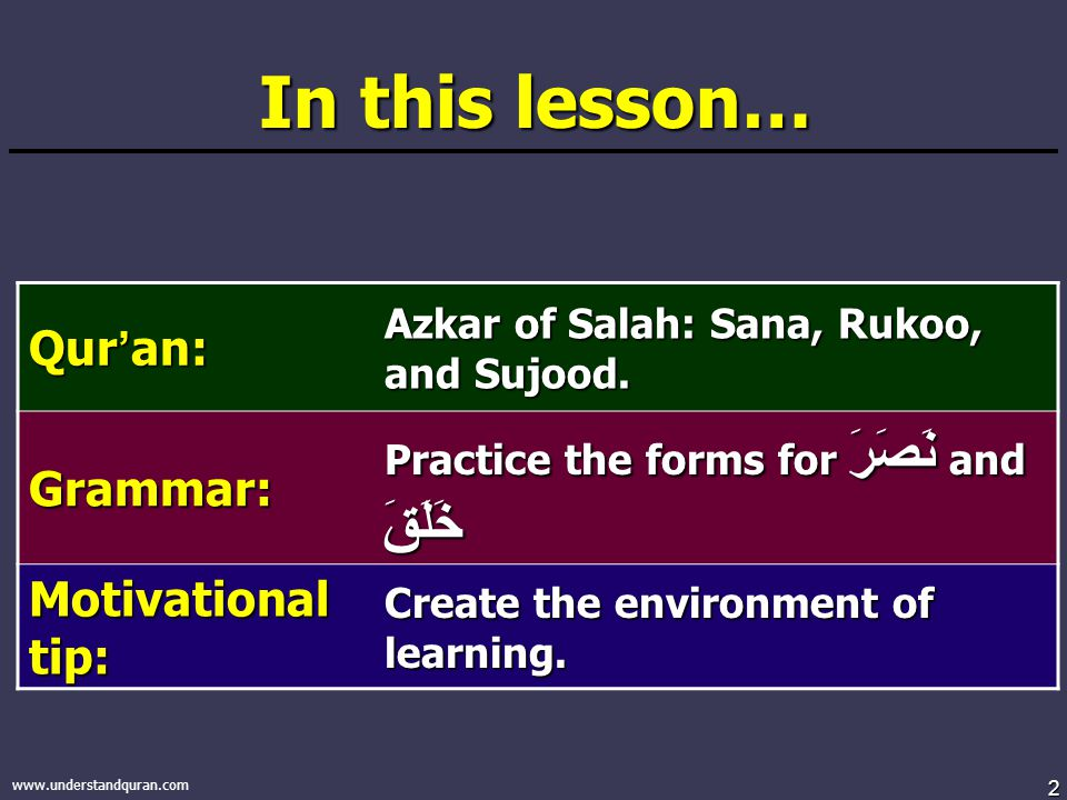 3 www.understandquran.com Sana, Ruku, and Sujood Memorize the meanings of each word thoroughly.