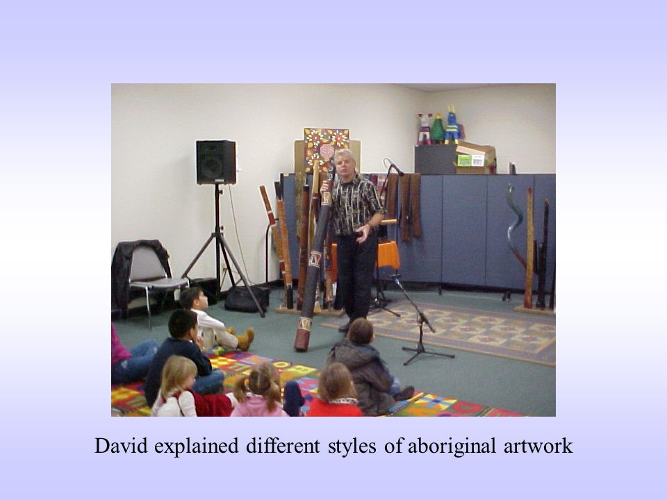 David explained different styles of aboriginal artwork