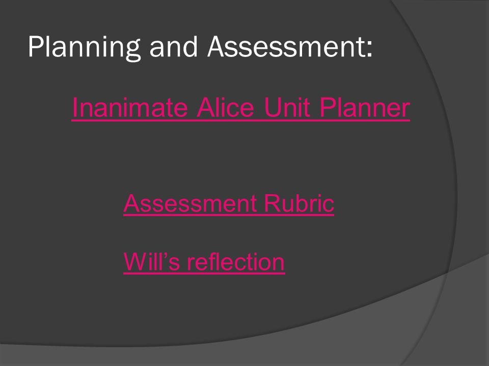 Planning and Assessment: Inanimate Alice Unit Planner Assessment Rubric Will's reflection