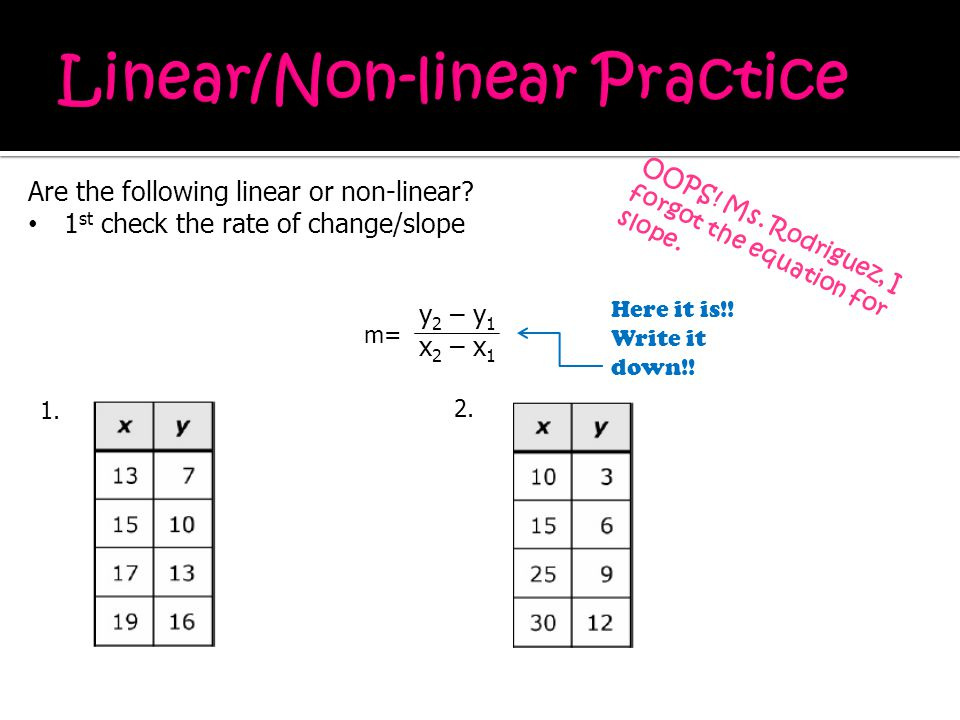 Are the following linear or non-linear? 1 st check the rate of change/slope OOPS! Ms. Rodriguez, I forgot the equation for slope. y 2 – y 1 x 2 – x 1