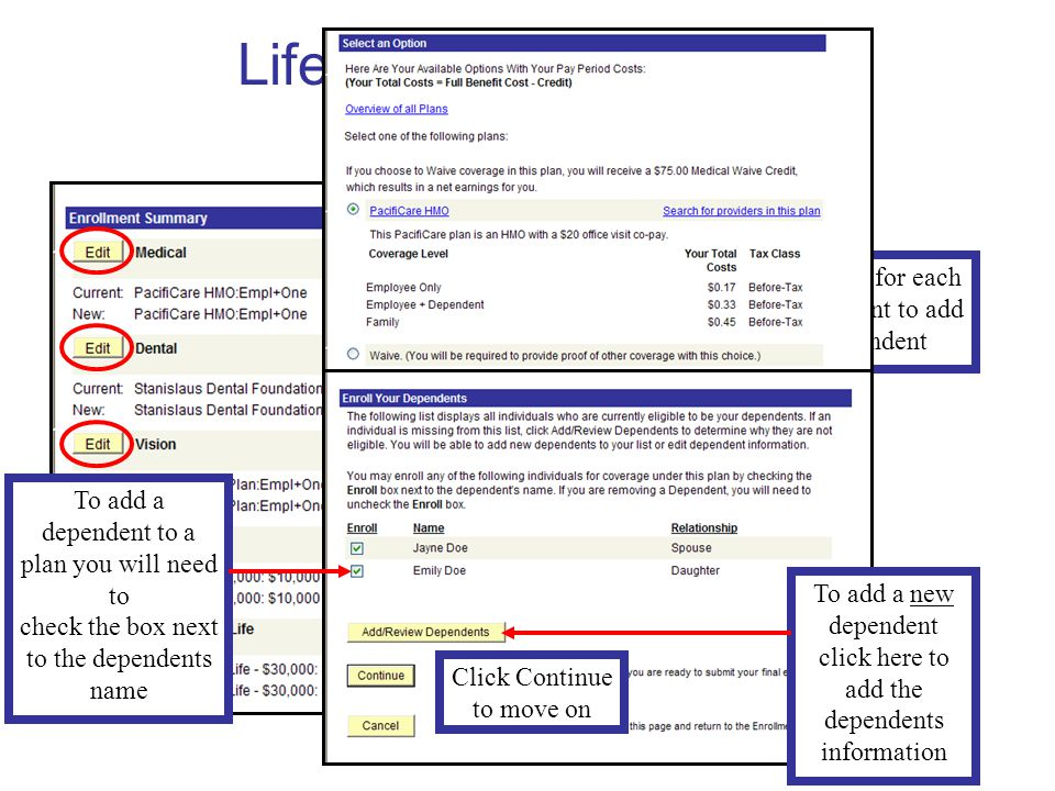 Life Events Enrollment Birth/Adoption Click EDIT for each plan you want to add the dependent To add a dependent to a plan you will need to check the box next to the dependents name To add a new dependent click here to add the dependents information Click Continue to move on