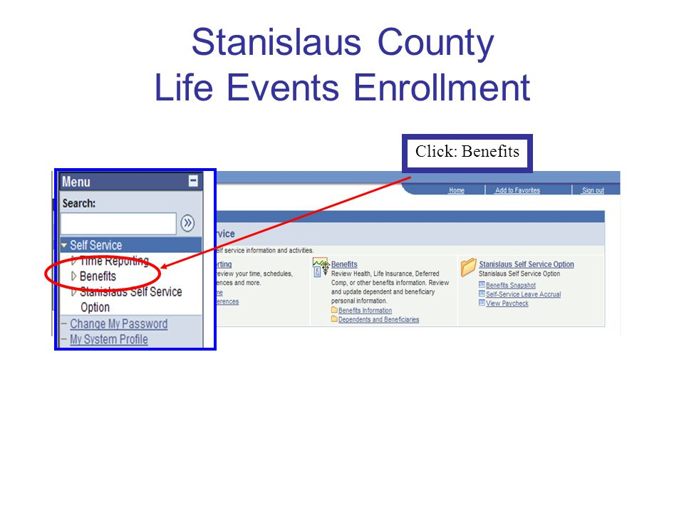 Stanislaus County Life Events Enrollment Click: Benefits